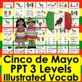 Cinco de Mayo Activities:  PowerPoint - 3 Reading Levels + 40 Vocabulary Slides