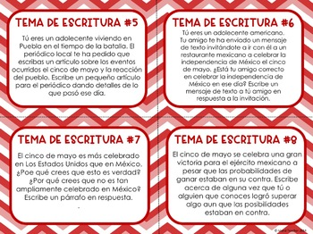 Cinco de Mayo Questions and Writing Prompts SPANISH version