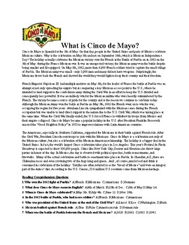 Cinco de Mayo Reading Comprehension Assignment (Answer Key Included)