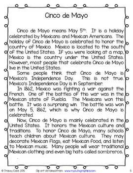 Cinco de Mayo Reading Comprehension, Fluency, and Center Activity Pack