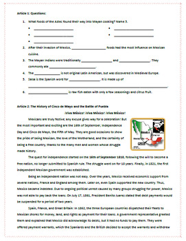 Cinco de Mayo: Reading, Activities, & Substitute Plan for Spanish Class