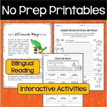Spanish Cinco de Mayo Bilingual Reading/ Vocab./ Grammar/ Cognates