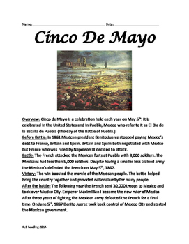 Cinco de Mayo Review Article 20 questions vocabulary word search