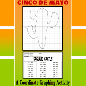 Cinco de Mayo - Seguaro Cactus - A Coordinate Graphing Activity