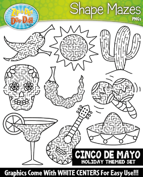 Cinco de Mayo Shaped Mazes Clipart {Zip-A-Dee-Doo-Dah Designs}