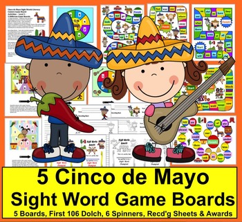 Cinco de Mayo Activities: Sight Words Game Boards-First 106 Dolch - 5 Boards
