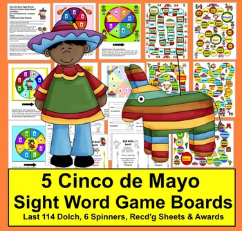 Cinco de Mayo Activities: Sight Word Game Boards Last 114 Dolch