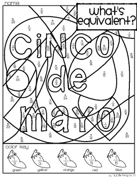 Cinco de Mayo Simplify Fractions Coloring page (no prep)