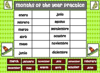Cinco de Mayo Smartboard FREEBIE - Months of the Year in English/Spanish