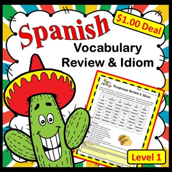 Spanish Cinco de Mayo Vocabulary Review Dollar Deal
