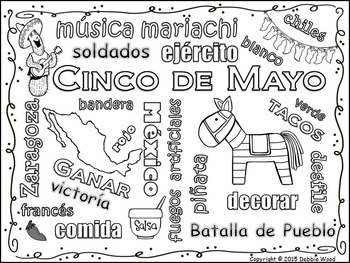 Spanish Cinco de Mayo Vocabulary Word Art Fun