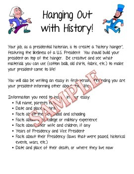 Hanging Out with History - A Fun Alternative to the President Report Sample