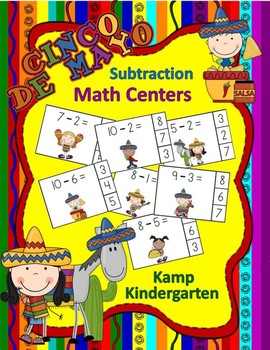 Cinco de Mayo Subtraction Math Centers (Minuends to 10)