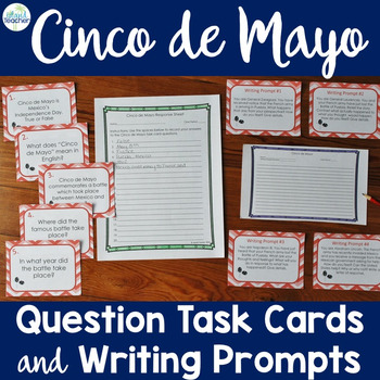 Cinco de Mayo Task Cards Questions and Writing Prompts