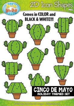 Cinco de Mayo Themed 2D Icon Shapes Clipart Set — Includes