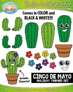 Cinco de Mayo Themed Build-A-Character Clipart Set — Inclu