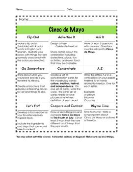 Cinco de Mayo Think-Tac-Toe