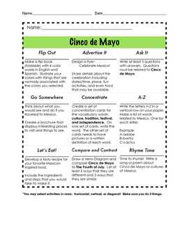 Cinco de Mayo Think-Tac-Toe