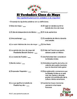 Cinco de Mayo Video Activities in Spanish and English