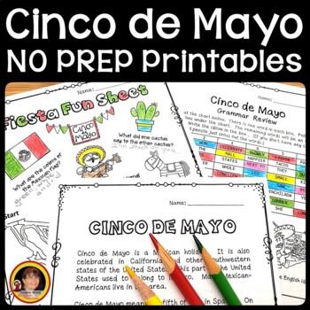 Cinco de Mayo/ Vocabulary/ Grammar/ Information Questions/ Scrambled Words