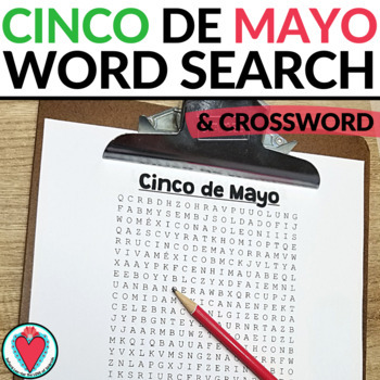Cinco de Mayo Activities - Word Search and Crossword Puzzle - BILINGUAL RESOURCE