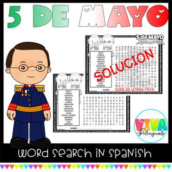 CINCO DE MAYO - Word Search Activity in Spanish