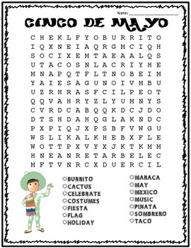 Cinco de Mayo Word Search: FREE!