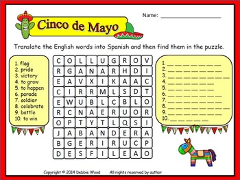 Spanish Cinco de Mayo Word Search:  Spanish Translate & Find