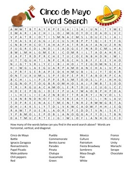 Cinco de Mayo Word Search (with optional text) Answer Key Included