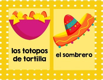 Cinco de Mayo Word Wall, Flash Cards, & Lotto Game (Spanish Version)