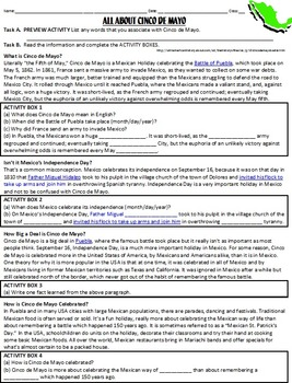 Cinco de Mayo Worksheet -preview act., functional chunked text, & follow-up act.