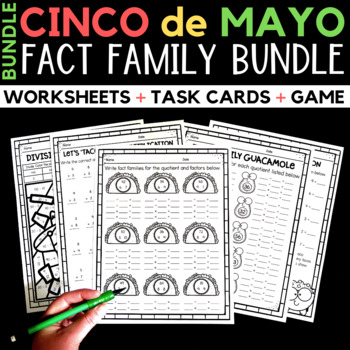 Cinco de Mayo Worksheets:  Fact Family Worksheets, Game, and Task Cards