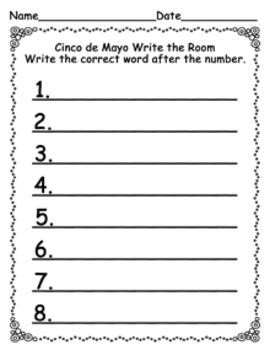 Cinco de Mayo Write the Room Activity