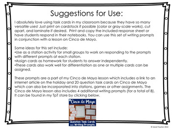 Cinco de Mayo Free Writing Prompt Task Cards