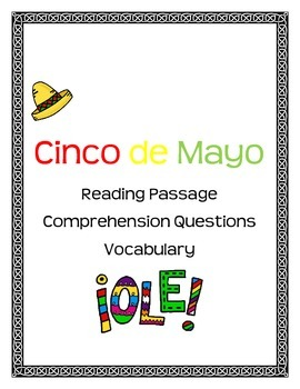 Cinco de Mayo article with comprehension questions and vocabulary words
