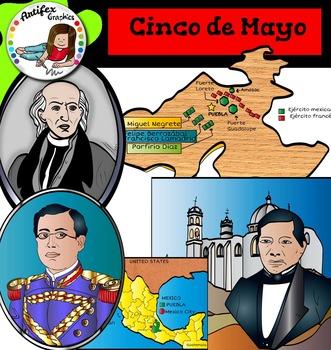 Cinco de Mayo clip art - Color and black/white