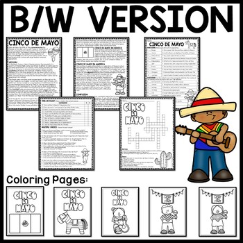 Cinco de Mayo reading comprehension worksheet, May, Mexico, Puebla, Mexican War
