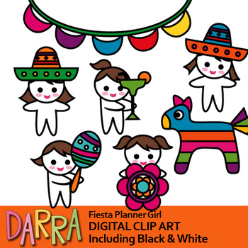 Cinco de mayo clip art (fiesta planner girl)