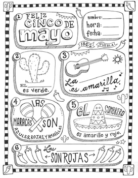 Cinco de mayo ~fill in the blanks and coloring worksheet ~no prep activity