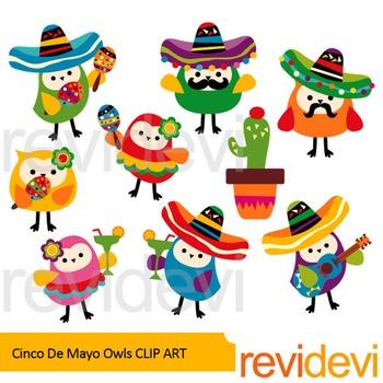 Cinco de mayo owls clip art