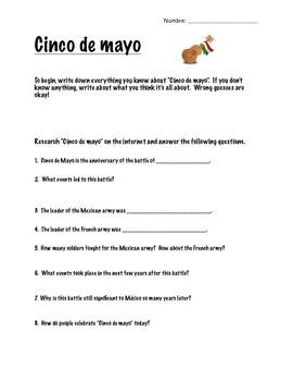Cinco de mayo worksheet: Research, Video Guide, Venn Diagram