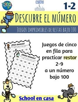 Spanish Subtraction Printable Games | Cinco en fila: Restas bajo 100