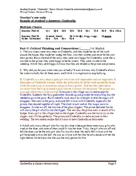 Cinderella Classic Version Story, Reading Comprehensions and Writing Prompts