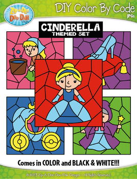 Cinderella Color By Code Clipart {Zip-A-Dee-Doo-Dah Designs}