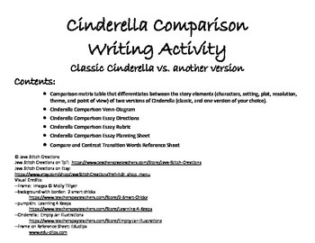 Cinderella Comparison Writing Activity