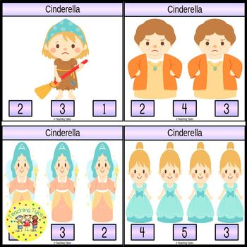 Cinderella Fairy Tale Count and Clip Task Cards