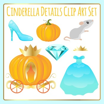 Cinderella Details Clip Art Set for Commercial Use - Glass Slipper to Pumpkin