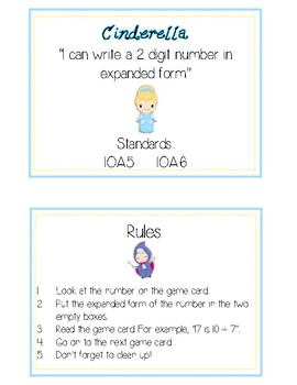 Cinderella Expanded Form Math File Folder Game Place Value Tens & Ones