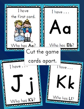 Cinderella I Have...Who Has...Alphabet Game Cards - 27 cards total.