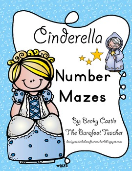 Cinderella Kindergarten Common Core Leveled Number Tracing Mazes (3 Total)